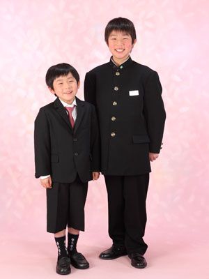 秋田の入学写真 スタジオ撮影 小中入学 アヤト&ソウタくん