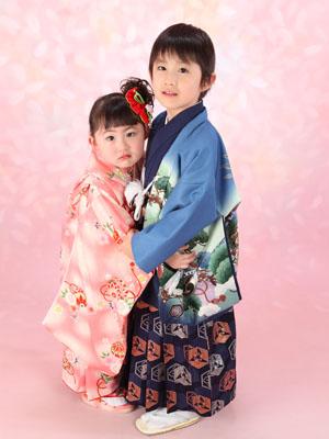 秋田の七五三 スタジオ撮影 3&5歳 リピーター アカネちゃん&ナギサくん