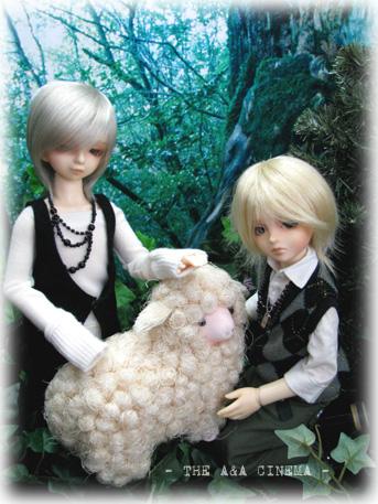 双子、羊と戯れる。