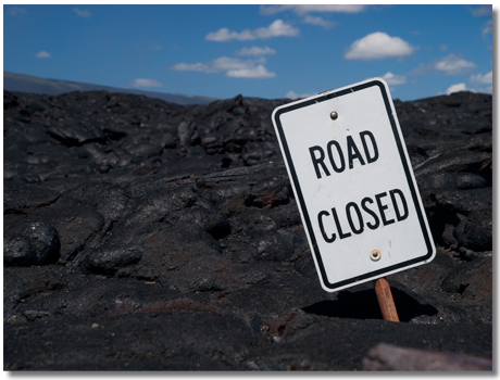溶岩と標識