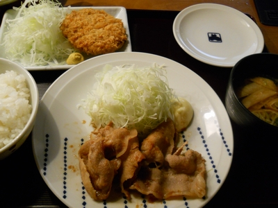 寅福_豚生姜焼き&揚げ物定食