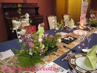 ウェディング ゲストテーブル 装花 実習