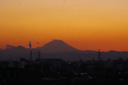 日没後の富士山