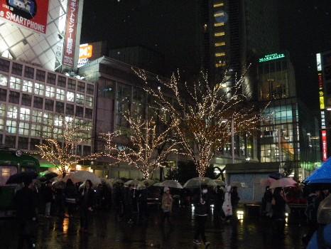 雨の師走の渋谷