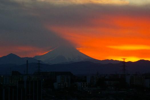 2011年元旦の夕焼け富士