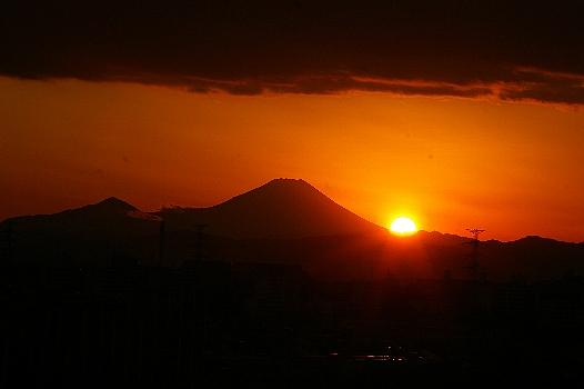 富士の裾野の日没