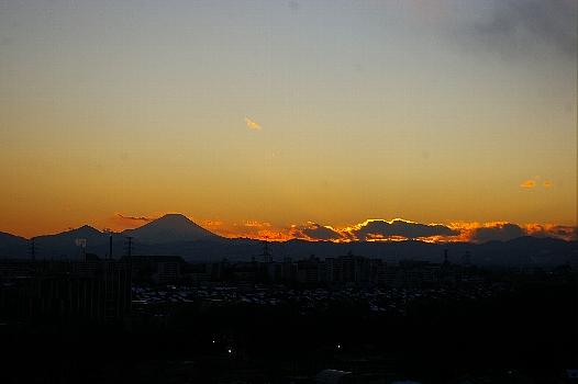 夕焼け富士のパノラマ