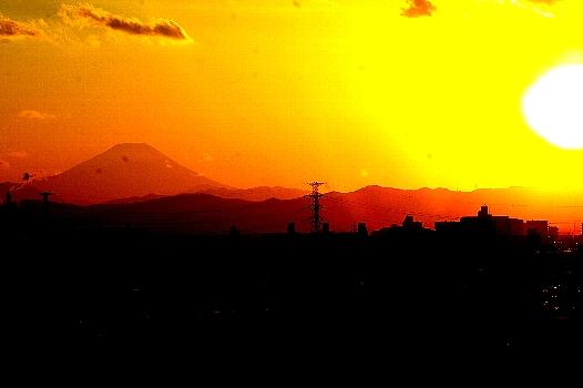 節分の夕焼け富士