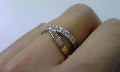 プラチナ&ピンクゴールドとダイヤモンドの指輪