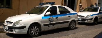 ギリシャのパトカー サイレンの部分も青色