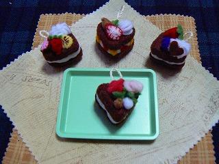 ハートのチョコレートケーキ集合