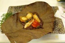 緋扇貝朴葉焼