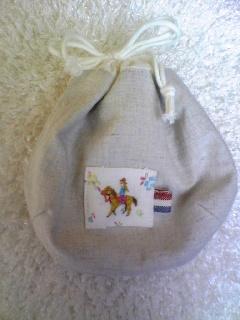 馬と女の子刺繍 しじみ巾着