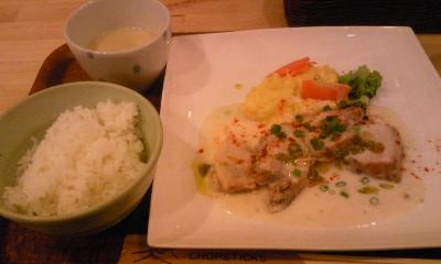 日本食堂ランチ 豚バラクリームソース