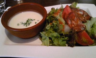 エスポワールランチサラダとスープ