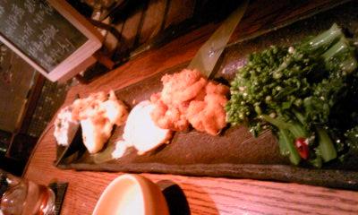 あじと201102菜の花ペペロン、白子フライ、ジーマミー豆腐、からしレンコン、白魚とパルメザンかなんかなど