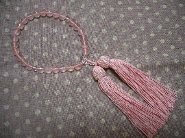 ローズクォーツの数珠