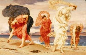 海#36793;#25441;拾#40517;卵石的希腊女孩