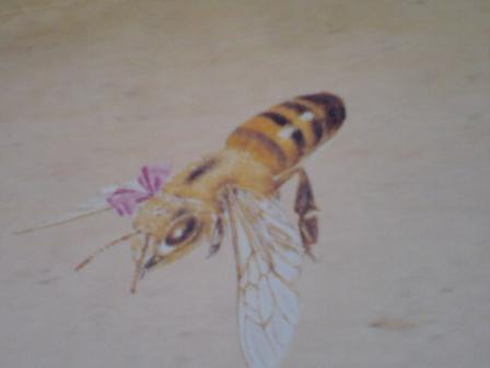 リボンをしたミツバチ