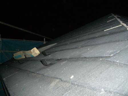 屋根工事 北側斜面と雪止め