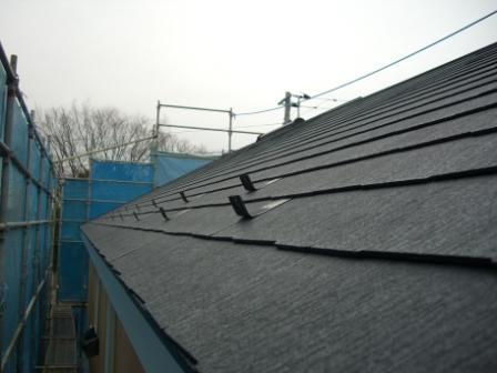 屋根工事完了 東側の雪止め