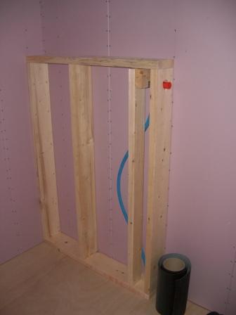 内装工事 洗面所の設備壁 枠組み