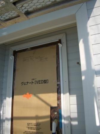外壁工事 玄関周りのサイディング完了