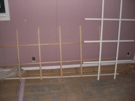 内装工事 木製サッシの格子塗装①