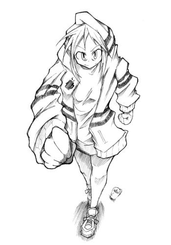 ぶかぶかフードを着せた娘みたいなのを描いてたはずなのに偉くアンバランスに(ノ∀`)