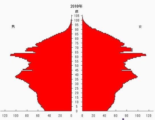 新しい人口ピラミッド2010