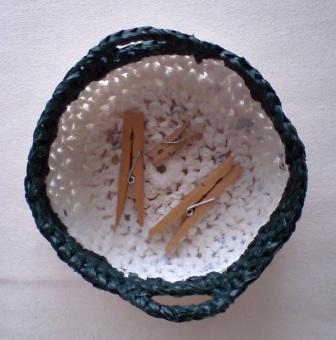プラバッグ裂き編みのピンチ入れ
