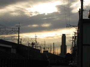 線路の夕暮れ