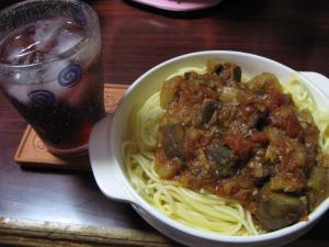 アンチョビとトマト,ナスのパスタ