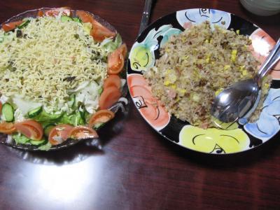 チャーハンとラーメンサラダ