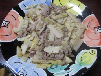 タケノコと豚肉の塩ダレ炒め