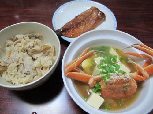 カニ味噌汁の晩ご飯