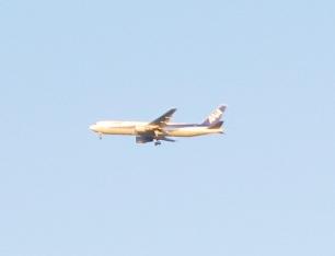 大阪城の上を飛ぶANA