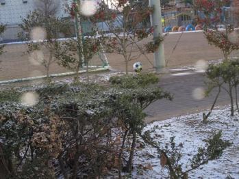 雪とサッカーボール