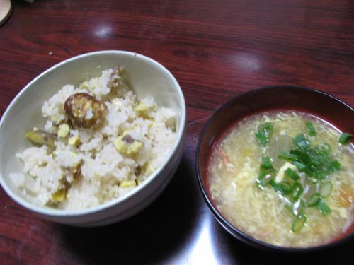 栗ごはんと中華風冬瓜スープ