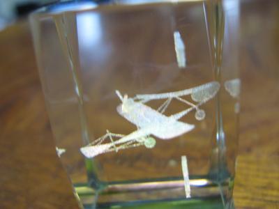 カラス型飛行機3Dレーザークリスタル