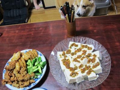 豆腐のラー油だし乗せ、きゅうりとさつま揚げ