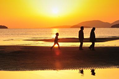 浜辺を行く家族