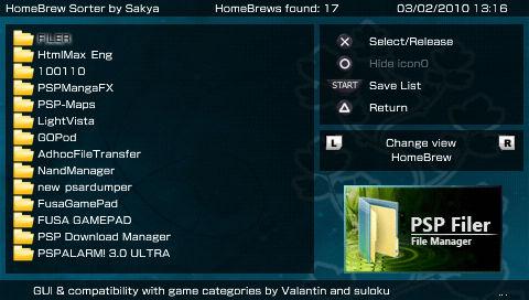 PSP HomeBrew Sorter GUI beta 4 (アイコンの移動ができる!)
