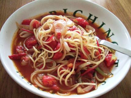 izumiさんわけぎとトマトのスパゲッティ