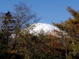 少し紅葉と雪を被った富士