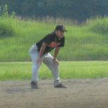 2回裏、山崎が勝ち越しの適時二塁打を放つ