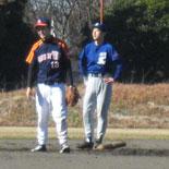 2回裏、田中が同点適時二塁打を放つ