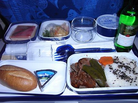 ニューカレドニア旅行 機内食夜