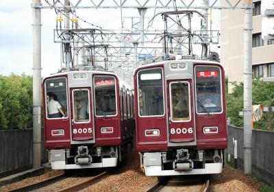能勢電内での阪急車同士の並び