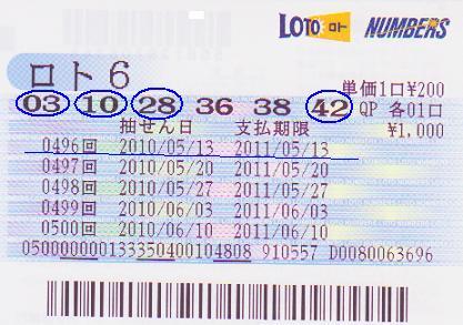 ロト6購入0513